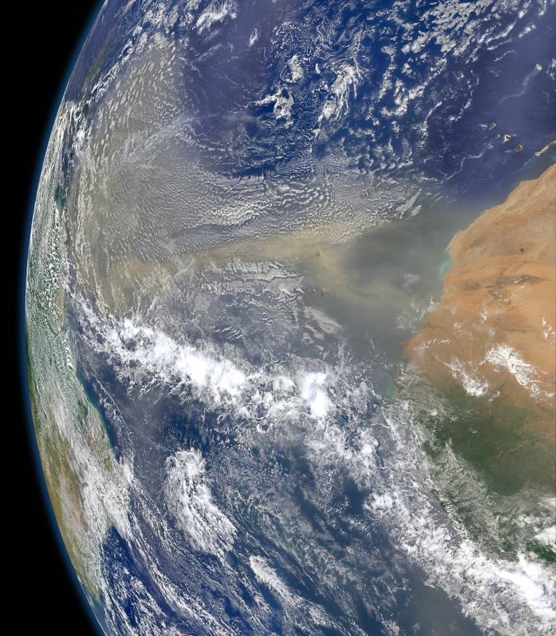 On 25 June 2020, satellite imagery shows large amounts of dust leaving West Africa and heading west towards South America and the Gulf of Mexico across the Atlantic Ocean. Courtesy NASA.