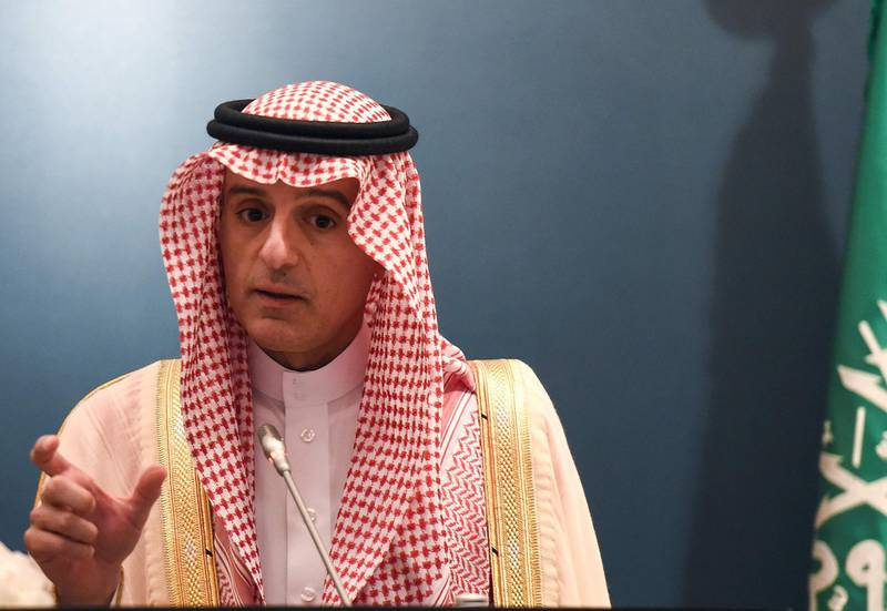 Saudi Foreign Minister Adel al-Jubeir speaks during a joint press briefing with the US Secretary of State at the Royal airport in the capital Riyadh on April 29, 2018. / AFP PHOTO / FAYEZ NURELDINE