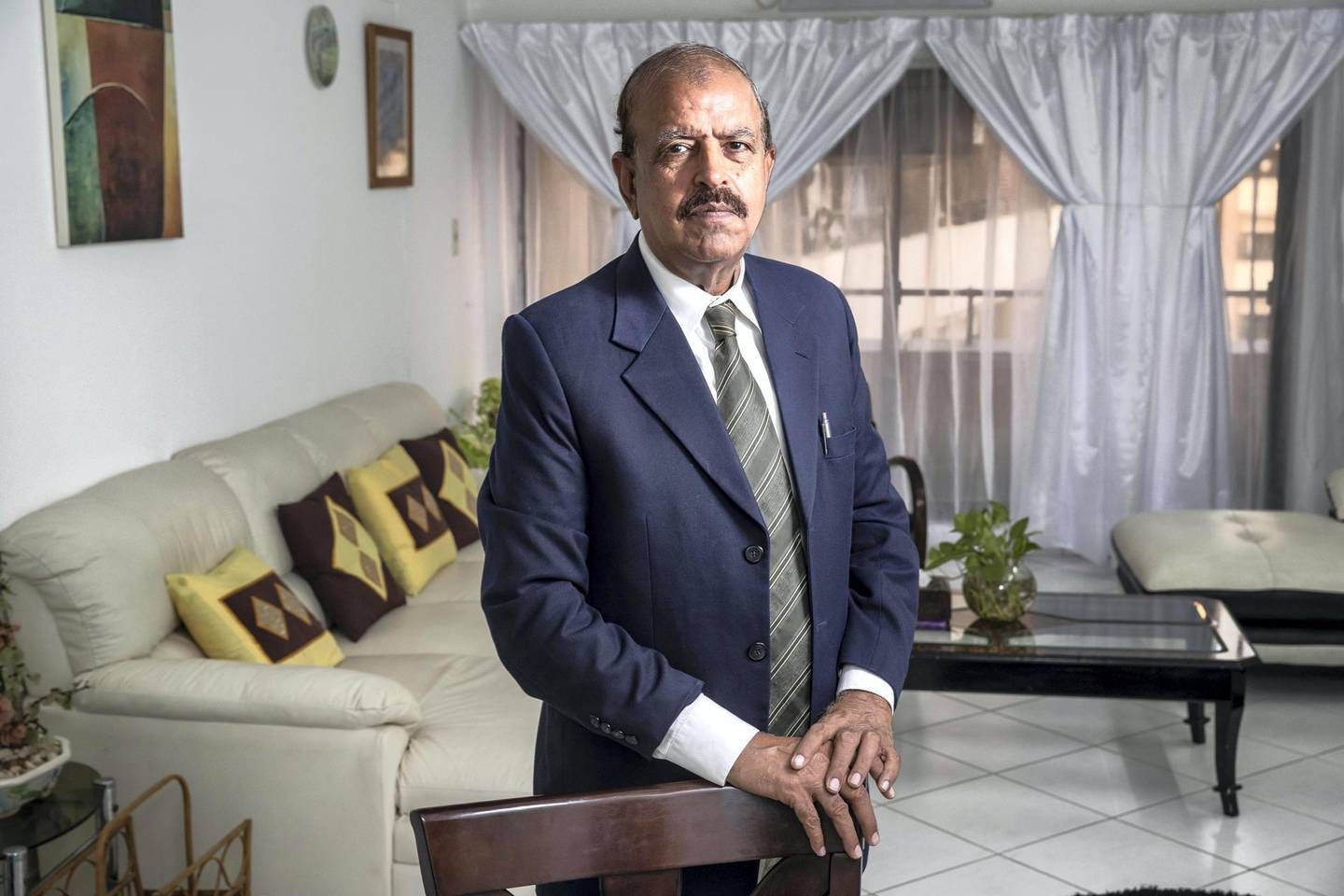 Muhammad Iqbal-DXBMuhammad Iqbal pictured in his home in Dubai for a story on if it is better to buy or rent property in the UAE on April 21st, 2021. Antonie Robertson / The National.Reporter: Deepthi Nair for Business