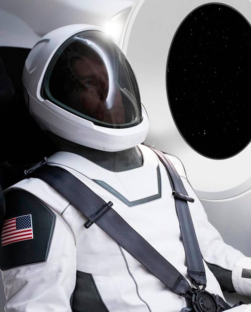 This undated image made available by Elon Musk on Wednesday, Aug. 23, 2017 shows a new spacesuit from his company SpaceX. It's designed for its crewed flights planned for 2018. (SpaceX via AP)