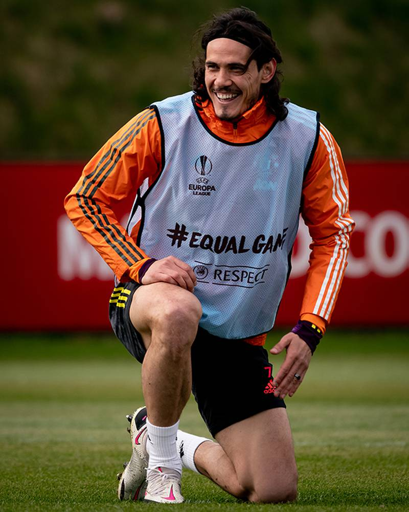 MANCHESTER, ENGLAND - APRIL 07:  Edinson Cavani of Manchester United reacts during a first team training session at Aon Training Complex on April 7, 2021 in Manchester, England. (Photo by Ash Donelon/Manchester United via Getty Images)