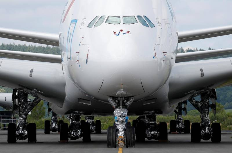 An A380 Airbus airplane sits on the tarmac at the site of French aircraft storage and recycling company Tarmac Aerosave in Tarbes following the coronavirus disease (COVID-19) outbreak in France, June 19, 2020. Picture taken June 19, 2020. REUTERS/Stephane Mahe