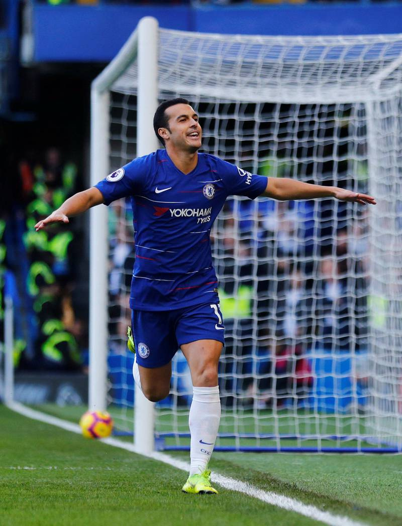 """Soccer Football - Premier League - Chelsea v Fulham - Stamford Bridge, London, Britain - December 2, 2018  Chelsea's Pedro celebrates scoring their first goal   REUTERS/Eddie Keogh  EDITORIAL USE ONLY. No use with unauthorized audio, video, data, fixture lists, club/league logos or """"live"""" services. Online in-match use limited to 75 images, no video emulation. No use in betting, games or single club/league/player publications.  Please contact your account representative for further details."""