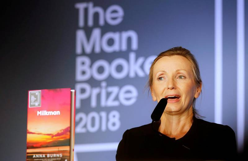 Writer Anna Burns delivers a speech after she was presented with the Man Booker Prize for Fiction 2018 by Britain's Camilla, the Duchess of Cornwall during the prize's 50th year at the Guildhall in London, Britain, October 16, 2018. Frank Augstein/Pool via REUTERS