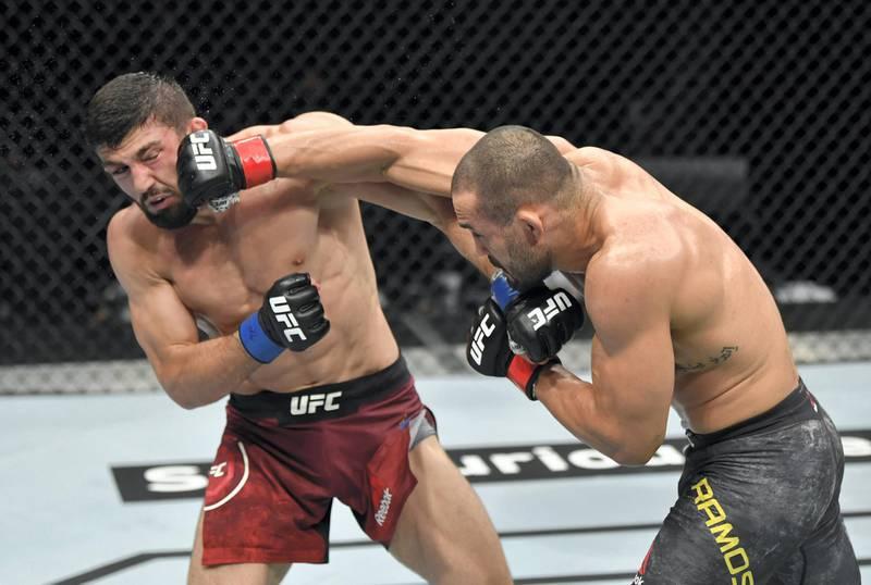 ABU DHABI, UNITED ARAB EMIRATES - JULY 19: (R-L) Davi Ramos of Brazil punches Arman Tsarukyan of Armenia in their lightweight bout during the UFC Fight Night event inside Flash Forum on UFC Fight Island on July 19, 2020 in Yas Island, Abu Dhabi, United Arab Emirates. (Photo by Jeff Bottari/Zuffa LLC via Getty Images) *** Local Caption *** ABU DHABI, UNITED ARAB EMIRATES - JULY 19: (R-L) Davi Ramos of Brazil punches Arman Tsarukyan of Armenia in their lightweight bout during the UFC Fight Night event inside Flash Forum on UFC Fight Island on July 19, 2020 in Yas Island, Abu Dhabi, United Arab Emirates. (Photo by Jeff Bottari/Zuffa LLC via Getty Images)