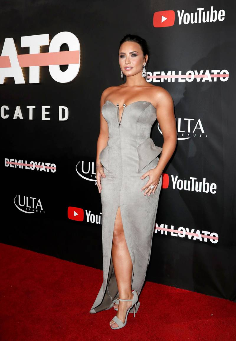 epa06260170 US singer, songwriter and actress Demi Lovato arrives for the premiere of 'Demi Lovato: Simply Complicated' at the Fonda Theatre in Hollywood, California, USA, 11 October 2017. 'Demi Lovato: Simply Complicated' is a full length documentary about Lovato's life and will premiere on her YouTube channel on 17 October.  EPA-EFE/PAUL BUCK