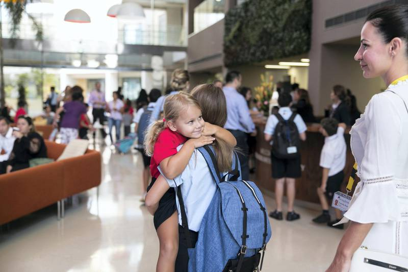 DUBAI, UNITED ARAB EMIRATES - SDEPTEMBER 2, 2018. Pupils at GEMS Dubai American Academy arrive to  school on the first day after summer break.(Photo by Reem Mohammed/The National)Reporter: Ramola Talwar + Anam RizviSection:  NA