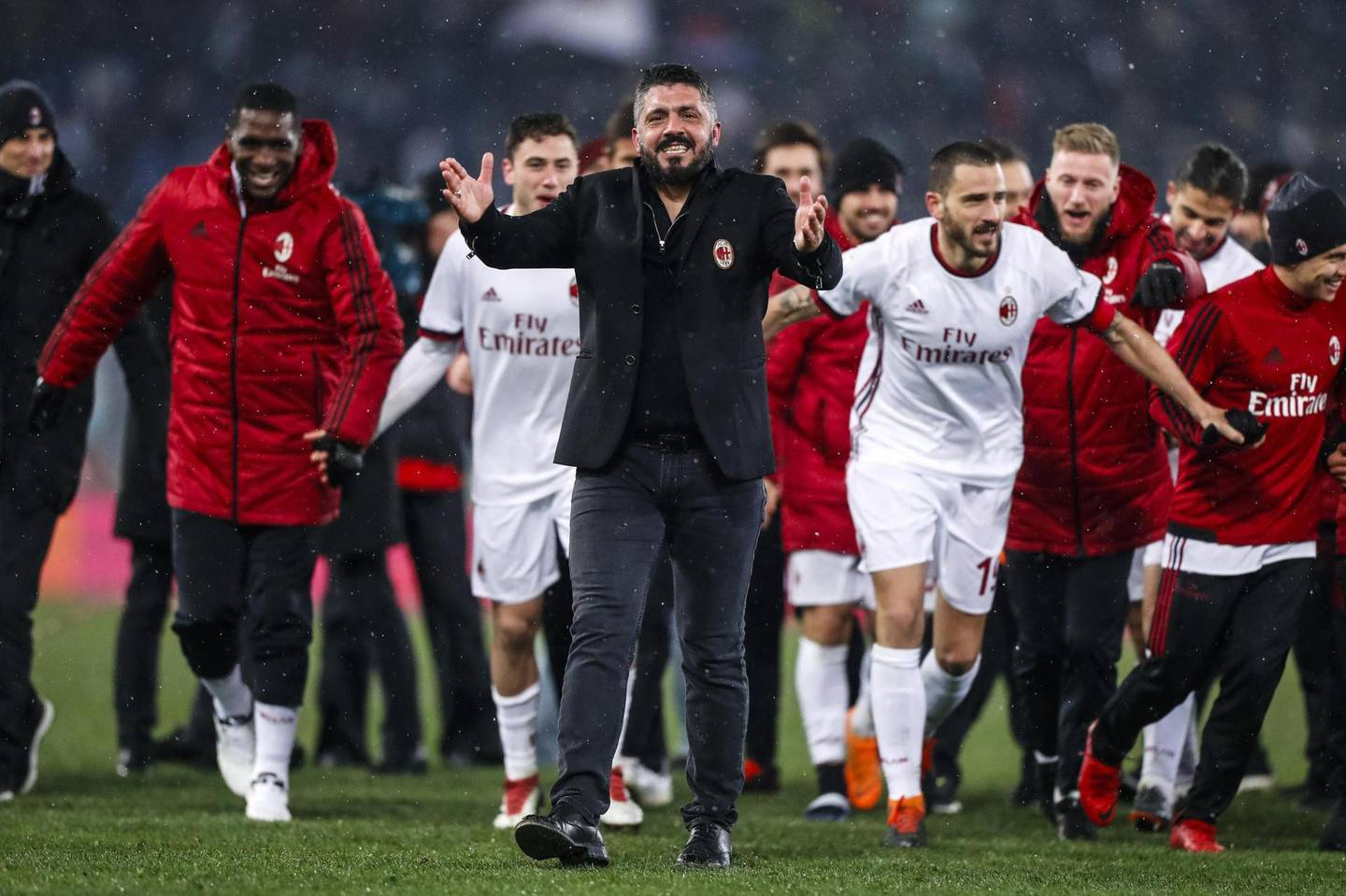 epa06571562 Milan's coach Gennaro Gattuso celebrates the victory at the end of after the Italian Cup semi-final second leg soccer match SS Lazio vs AC Milan at Olimpico stadium in Rome, Italy, 28 February 2018.  EPA/ANGELO CARCONI