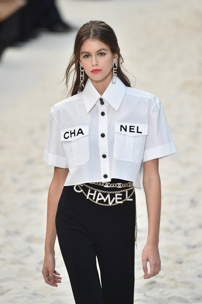 PARIS, FRANCE - OCTOBER 02:  Model Kaia Gerber walks the runway during the Chanel show as part of the Paris Fashion Week Womenswear Spring/Summer 2019 on October 2, 2018 in Paris, France.  (Photo by Stephane Cardinale - Corbis/Corbis via Getty Images)