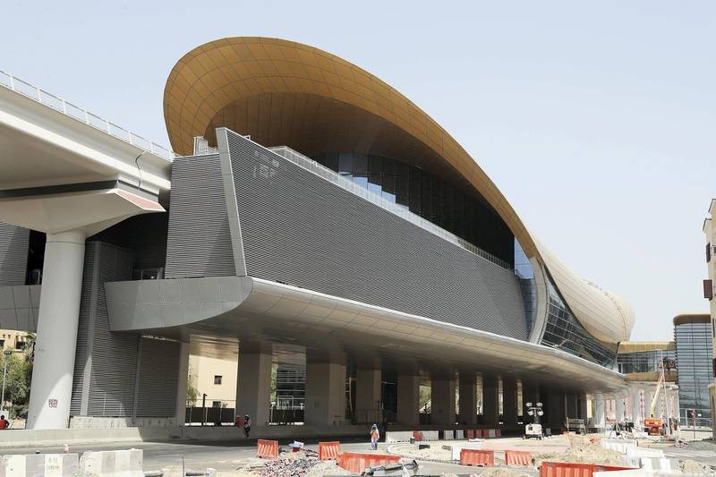 DUBAI, UNITED ARAB EMIRATES , July 9 – 2020 :- View of the Gardens metro station in Discovery Gardens area in Dubai. The New Expo 2020 metro route between Discovery Gardens, Gardens and Al Furjan area will open to the public in September.  (Pawan Singh / The National) For News/Standalone/Online/Stock. Story by Kelly