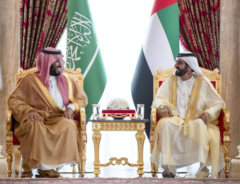 Sheikh Mohammed bin Rashid, UAE Vice President and Ruler of Dubai, receives Saudi Crown Prince Mohammed bin Salman at Zabeel Palace. Wam