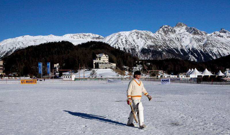 ST. MORITZ, SWITZERLAND - FEBRUARY 02: (EDITOR'S NOTE: AN ON-CAMERA POLARIZING FILTER WAS USED TO CREATE THIS IMAGE)  A batsman walks back after being dismissed in the game between Winterthur XI and Old Salopians XI during the 19th Cricket Tournament on Ice held on the frozen surface of Lake St. Moritz on February 2, 2007 in St. Moritz, Switzerland. The tournament first took place in 1988, when a group of Britons challenged the students of the international boarding school Lyceum Alpinum Zuoz to a game. Since then it has become an integral part of the cricket calendar, attracting international players and high-flying businessmen from all over the world.  (Photo by Scott Barbour/Getty Images)