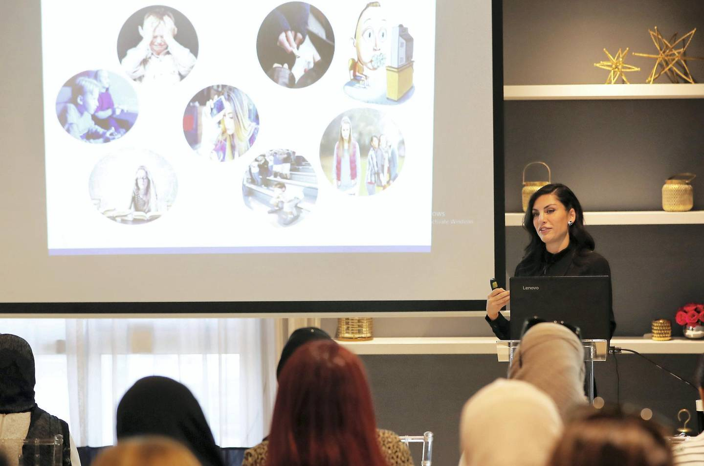 DUBAI , UNITED ARAB EMIRATES ,  October 17 , 2018 :- Dr. Saliha Afridi , Clinical Psychologist & Managing Director speaking about the mental health and wellbeing of teenagers at The LightHouse Arabia , Center for Wellbeing in Dubai. ( Pawan Singh / The National )  For News. Story by Hala Khalaf