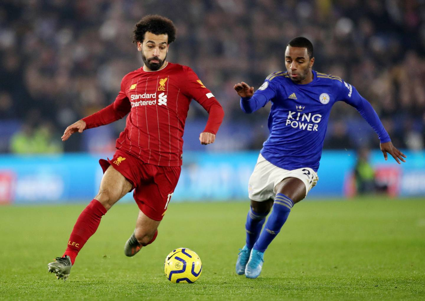 """Soccer Football - Premier League - Leicester City v Liverpool - King Power Stadium, Leicester, Britain - December 26, 2019  Liverpool's Mohamed Salah in action with Leicester City's Ricardo Pereira       Action Images via Reuters/Carl Recine  EDITORIAL USE ONLY. No use with unauthorized audio, video, data, fixture lists, club/league logos or """"live"""" services. Online in-match use limited to 75 images, no video emulation. No use in betting, games or single club/league/player publications.  Please contact your account representative for further details."""