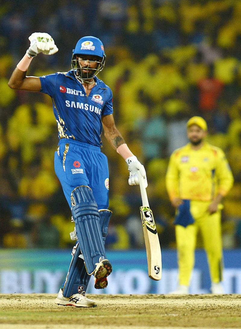 Mumbai Indians cricketer Hardik Pandya celebrates after winning the 2019 Indian Premier League (IPL) first Qualifier Twenty20 cricket match between Chennai Super Kings and Mumbai Indians at the MA Chidambaram stadium in Chennai on May 7, 2019. (Photo by ARUN SANKAR / AFP) / IMAGE RESTRICTED TO EDITORIAL USE - STRICTLY NO COMMERCIAL USE