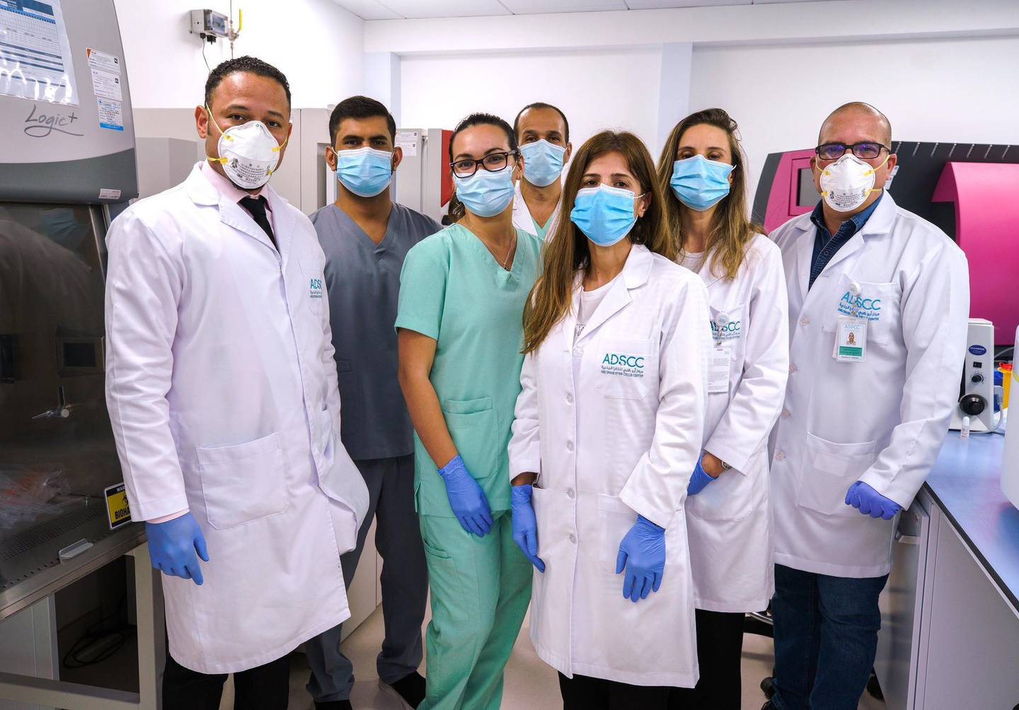 Abu Dhabi, United Arab Emirates, June 14, 2020.   Dr. Yendry Ventura, the general manager of Abu Dhabi Stem Cell Centre with his team.Victor Besa  / The NationalSection:  NAReporter:  Daniel Bardsley
