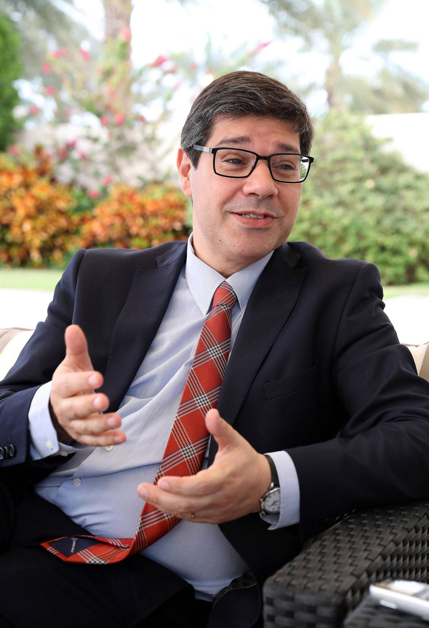 ABU DHABI , UNITED ARAB EMIRATES , February 19 – 2019 :- Eurico Brilhante Dias,  The Secretary of State of internationalization of the Portuguese Economy during the interview at the Portuguese Ambassadors villa in the Royal Marina compound in Abu Dhabi.  ( Pawan Singh / The National ) For News. Story by John