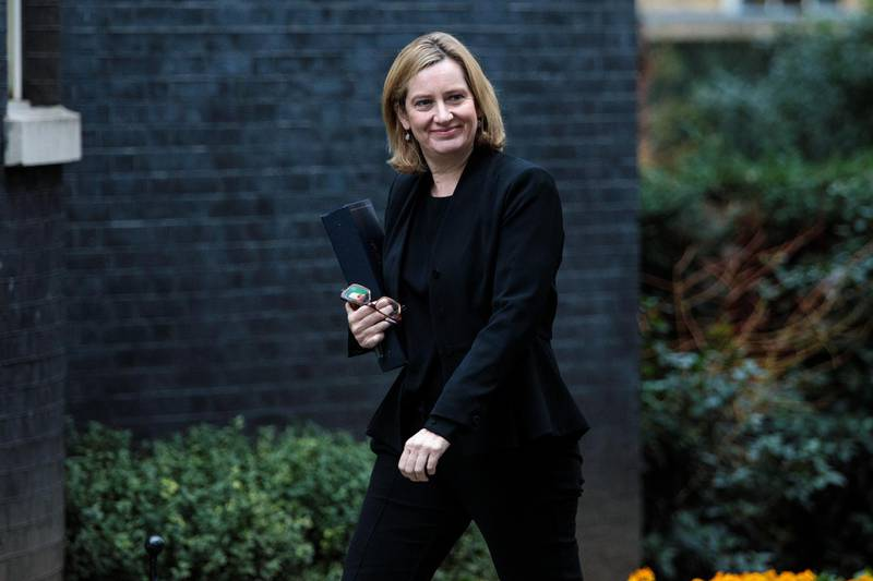 LONDON, ENGLAND - JANUARY 29: Home Secretary Amber Rudd arrives at 10 Downing Street on January 29, 2018 in London, England. The Prime Minister hosts a Brexit cabinet meeting today after a weekend of discord between pro- and anti-Brexit supporting MPs and Ministers played out in the British press. (Photo by Jack Taylor/Getty Images)