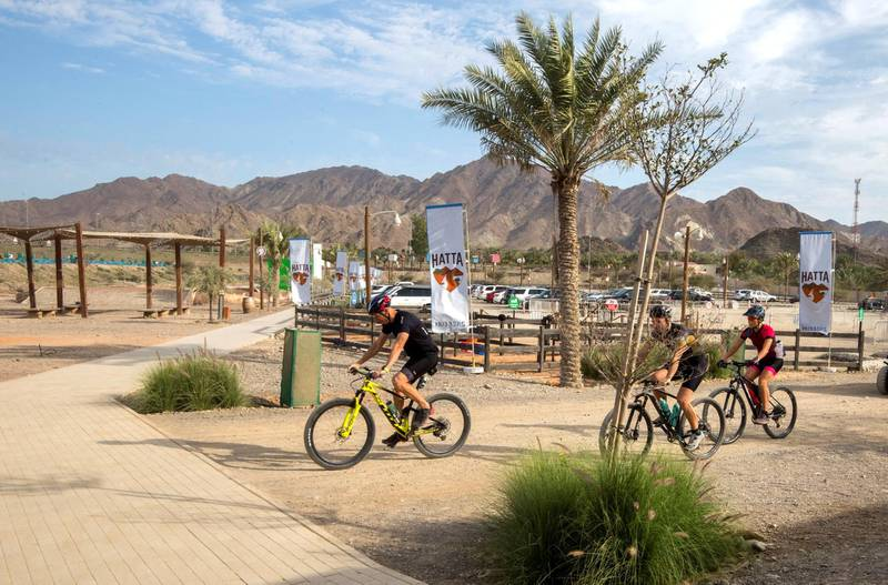 Hatta, United Arab Emirates -Mountain bike tracking one of the attraction  at Hatta Wadi Hub where the newly opened dropin slide is also the latest attraction.  Leslie Pableo for The National