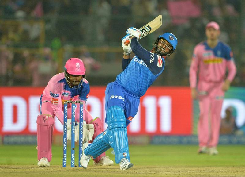 Delhi Capitals cricketer Rishabh Pant plays a shot during the 2019 Indian Premier League (IPL) Twenty20 cricket match between Delhi Capitals  and Rajasthan Royals at the Sawai Mansingh Stadium in Jaipur on  April 22, 2019. (Photo by Sajjad HUSSAIN / AFP) / ----IMAGE RESTRICTED TO EDITORIAL USE - STRICTLY NO COMMERCIAL USE----- / GETTYOUT