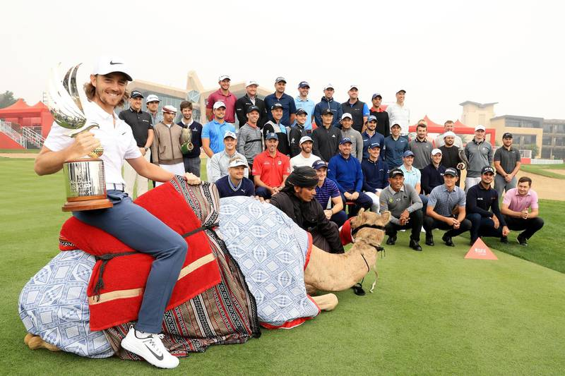 ABU DHABI, UNITED ARAB EMIRATES - JANUARY 16:  Tommy Fleetwood of England and other members of the European tour pose during a photocall for the Abu Dhabi HSBC Golf Championship at Abu Dhabi Golf Club on January 16, 2018 in Abu Dhabi, United Arab Emirates.  (Photo by Andrew Redington/Getty Images)