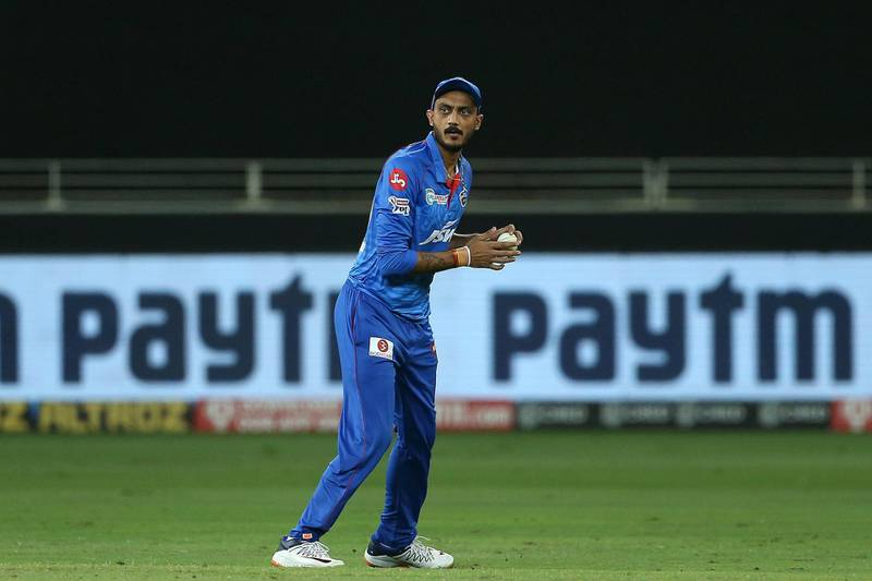 Axar Patel of Delhi Capitals during match 47 of season 13 of the Dream 11 Indian Premier League (IPL) between the Sunrisers Hyderabad and the Delhi Capitals held at the Dubai International Cricket Stadium, Dubai in the United Arab Emirates on the 27th October 2020.  Photo by: Ron Gaunt  / Sportzpics for BCCI