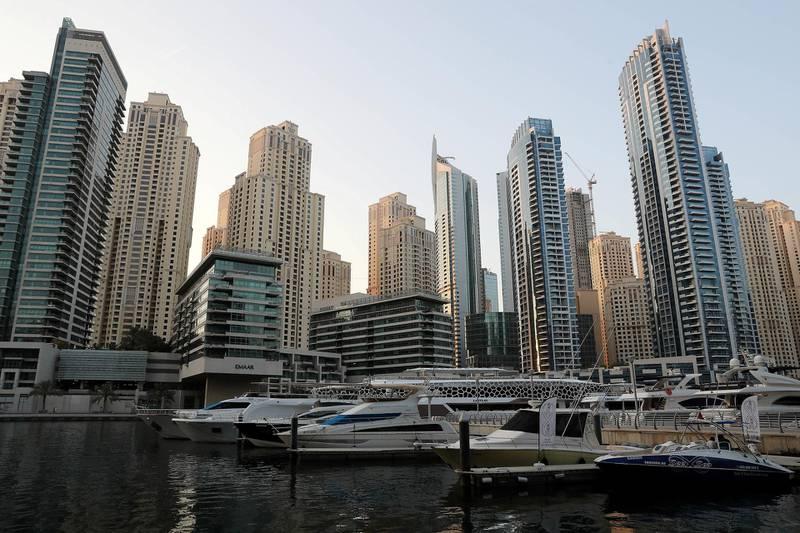DUBAI, UNITED ARAB EMIRATES , October 12 – 2020 :- View of the towers in Dubai Marina in Dubai. (Pawan Singh / The National) For Stock