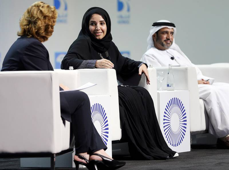 Abu Dhabi, November, 14, 2018: Fatima Al Nuaimi, Acting CEO, ADNOC LNG, gestures during the panel discussions at the ADIPEC in  Abu Dhabi. Satish Kumar for the National/ Story by Jennifer Ghana