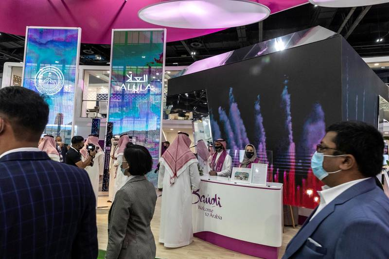 First day of the 2021 Arabian Travel Market exhibition opens at the World Trade Center in Dubai on May 16 th, 2021. Saudi Arabia stand.Antonie Robertson / The National.Reporter: None for National.