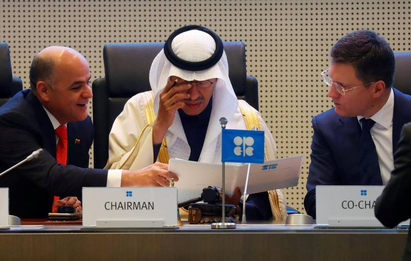 Venezuela's Oil Minister Manuel Quevedo, Saudi Arabia's Minister of Energy Prince Abdulaziz bin Salman Al-Saud and Russia's Energy Minister Alexander Novak are seen at the beginning of an OPEC and NON-OPEC meeting in Vienna, Austria December 6, 2019. REUTERS/Leonhard Foeger