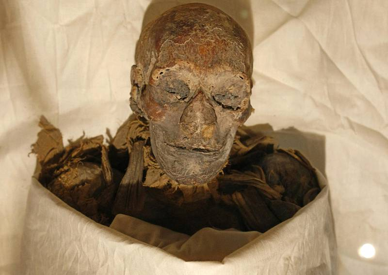 (FILES) In this file photo taken on June 27, 2007, the mummified remains of Queen Hatshepsut, ancient Egypt's most famous female pharaoh, lie in a glass case after being unveiled at the Cairo Museum. - The mummies of 18 ancient Egyptian kings and four queens will be paraded through the streets of Cairo on April 3 evening, in a carnival procession dubbed the Pharaohs' Golden Parade, as they are moved from a long residency at the Egyptian Museum to be put on display at southern Cairo's National Museum of Egyptian Civilisation. (Photo by Cris BOURONCLE / AFP)