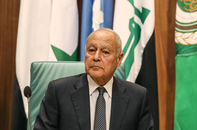 Secretary-General of the Arab League Ahmed Aboul Gheit chairs the Arab Foreign Ministers 153rd annual meeting at the Arab League headquarters in the Egyptian capital Cairo on March 4, 2020. (Photo by Mohamed el-Shahed / AFP)