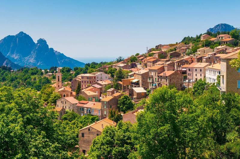 Mountain Village of Evisa, Corsica, France.