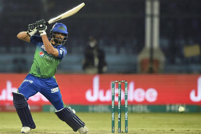 Multan Sultans' Shan Masood plays a shot during the T20 cricket match between Peshawar Zalmi and Multan Sultans at the National Cricket Stadium in Karachi on March 13, 2020. (Photo by Asif HASSAN / AFP)