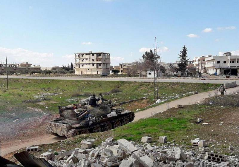 """A handout picture released by the official Syrian Arab News Agency (SANA) on March 2, 2020 shows Syrian army soldiers in the town of Saraqib in the eastern part of the Idlib province in northwestern Syria..  Regime forces re-entered the northwestern Syrian town of Saraqeb on Monday after losing it days earlier to rebels, a monitor and state media said. The Syrian Observatory for Human Rights, a Britain-based war monitor, said regime forces had wrested back full control. Syrian state news agency SANA said the army had re-entered the town after violent clashes against Turkey-backed rebels. -  == RESTRICTED TO EDITORIAL USE - MANDATORY CREDIT """"AFP PHOTO / HO / SANA"""" - NO MARKETING NO ADVERTISING CAMPAIGNS - DISTRIBUTED AS A SERVICE TO CLIENTS ==  / AFP / SANA / - /  == RESTRICTED TO EDITORIAL USE - MANDATORY CREDIT """"AFP PHOTO / HO / SANA"""" - NO MARKETING NO ADVERTISING CAMPAIGNS - DISTRIBUTED AS A SERVICE TO CLIENTS =="""