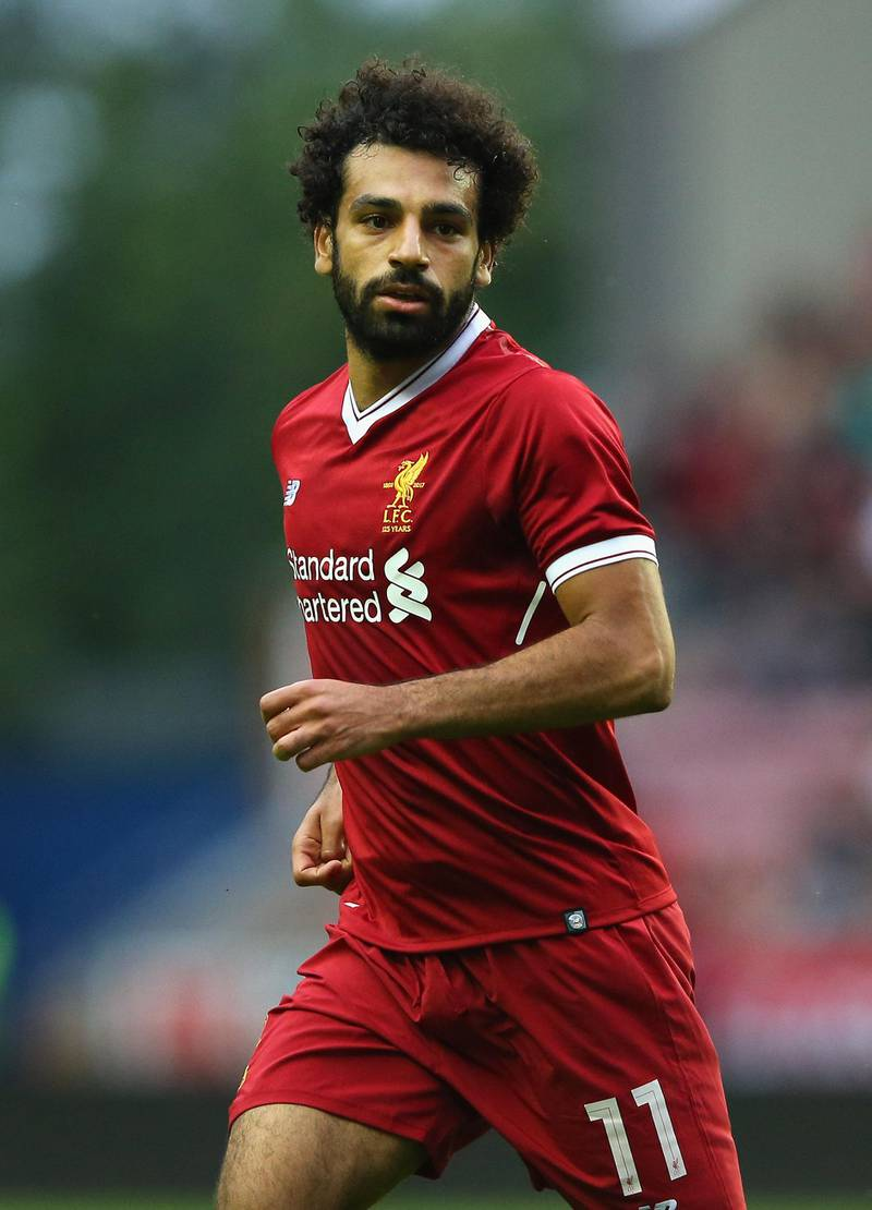 WIGAN, ENGLAND - JULY 14:  Mohamed Salah of Liverpool during the pre-season friendly match between Wigan Athletic and Liverpool at DW Stadium on July 14, 2017 in Wigan, England.  (Photo by Alex Livesey/Getty Images)