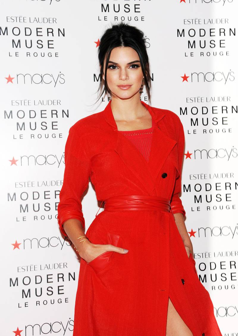 NEW YORK, NY - SEPTEMBER 18:  Model Kendall Jenner celebrates the launch of The New Estee Lauder Fragrance Modern Muse Le Rouge at Macy's Herald Square on September 18, 2015 in New York City.  (Photo by Desiree Navarro/FilmMagic)