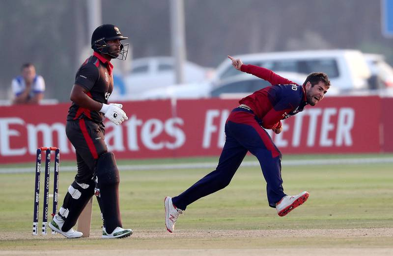 ABU DHABI , UNITED ARAB EMIRATES , October 22  – 2019 :- Charles Perchard of Jersey bowling during the World Cup T20 Qualifiers between UAE vs Jersey held at Tolerance Oval cricket ground in Abu Dhabi.  ( Pawan Singh / The National )  For Sports. Story by Paul