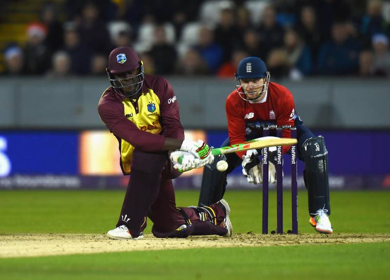 CHESTER-LE-STREET, ENGLAND - SEPTEMBER 16:  Carlos Brathwaite of West Indies bats during the 1st NatWest T20 International between England and West Indies at Emirates Durham ICG on September 16, 2017 in Chester-le-Street, England.  (Photo by Tony Marshall/Getty Images)
