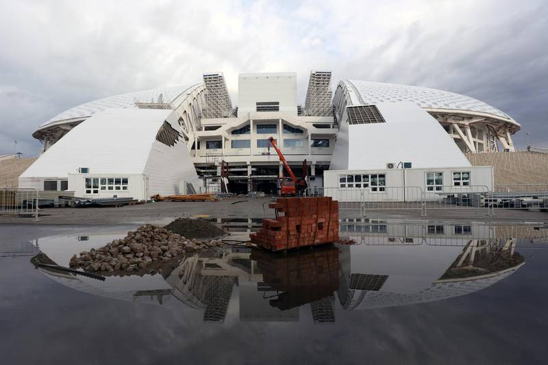 A picture taken on February 28, 2018 shows a view of the Fisht Stadium in the Black Sea resort of Sochi. The venue will host six matches of the 2018 FIFA World Cup football tournament. / AFP PHOTO / Vitaly TIMKIV