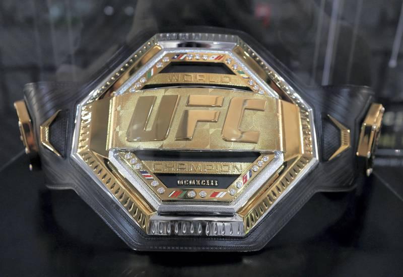 Abu Dhabi, United Arab Emirates - September 06, 2019: A UFC belt on display at the UFC fan zone. Friday the 6th of September 2019. Yes Island, Abu Dhabi. Chris Whiteoak / The National
