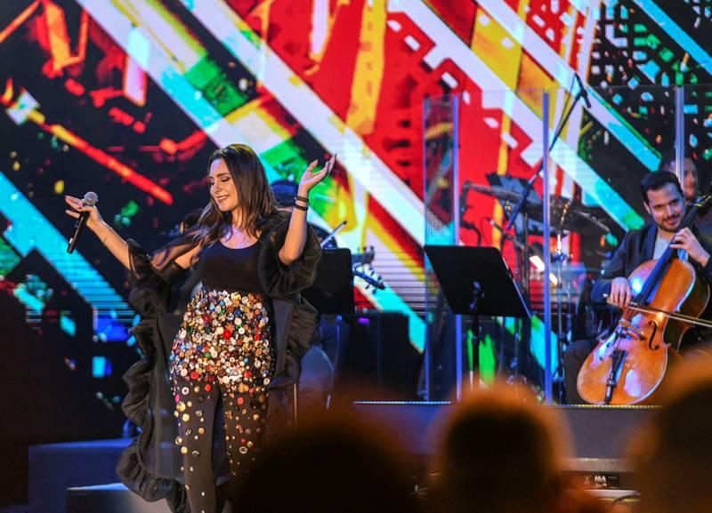 Abu Dhabi, United Arab Emirates - Mayssa Karaa, Lebanese vocalist and songwriter who graduated from Berklee School, performs at the opening night of Berklee, Abu Dhabi, Al Saadiyat. Khushnum Bhandari for The National
