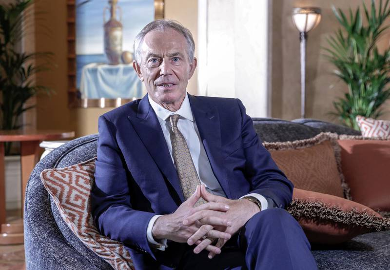 NOTE:  DO NOT USE for tomorrow-  MinaDubai, United Arab Emirates, March 24,  2019.  -- Interview with Tony Blair.Victor Besa/The NationalSection:  Reporter: Mina AlOraibi
