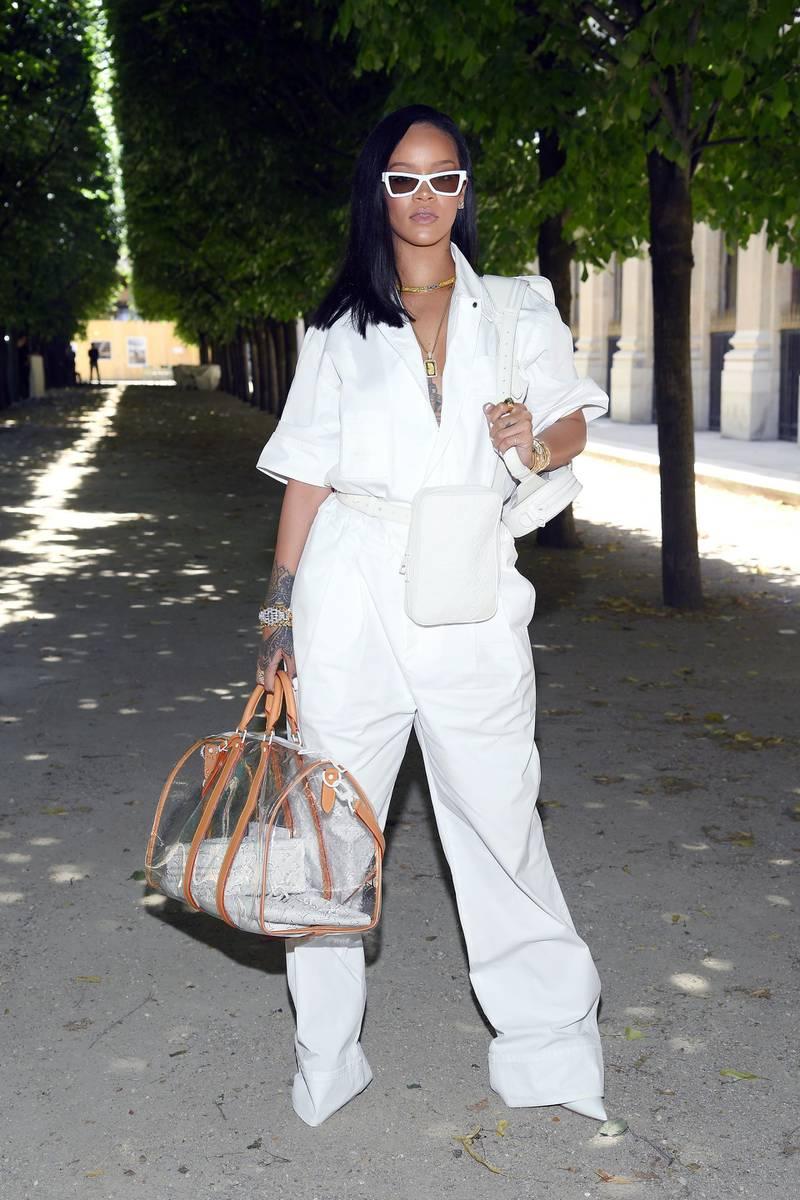 PARIS, FRANCE - JUNE 21:  Rihanna attends the Louis Vuitton Menswear Spring/Summer 2019 show as part of Paris Fashion Week on June 21, 2018 in Paris, France.  (Photo by Pascal Le Segretain/Getty Images)