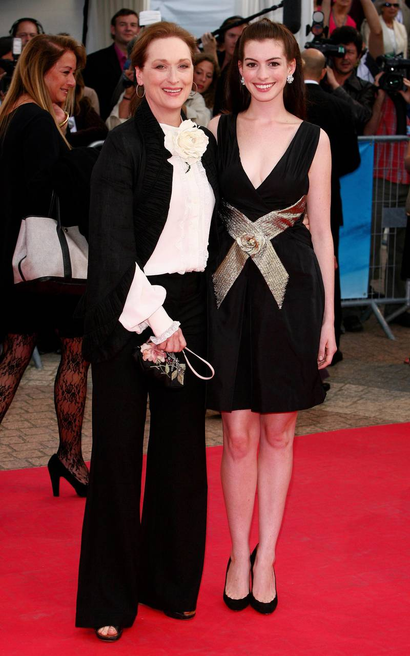DEAUVILLE, FRANCE - SEPTEMBER 09:  Actresses Meryl Streep (L) and Anne Hathaway arrive at the The Devil Wears Prada premiere at the 32nd Deauville Festival Of American Film on September 9, 2006 in Deauville, France.  (Photo by Francois Durand/Getty Images)