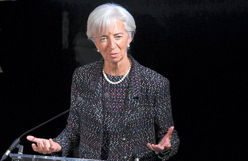 International Monetary Fund (IMF) Managing Director, French Christine Lagarde, gives a talk about the global outlook and policy priorities ahead of the upcoming 2017 IMF spring meetings on April 12, 2017 at the European economic think tank Bruegel in Brussels. / AFP PHOTO / EMMANUEL DUNAND