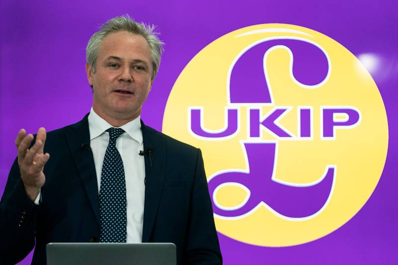 epa07772948 Newly appointed leader of UK Independence Party (UKIP) Richard Braine talks to the media during a press conference in central London, Britain, 14 August 2019. Richard Braine has replaced Gerard Batten as party leader on 10 August 2019.  EPA/WILL OLIVER