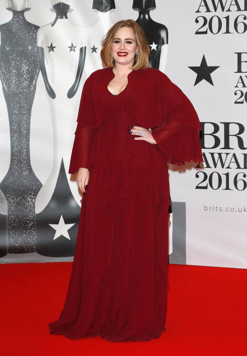 LONDON, ENGLAND - FEBRUARY 24: (EDITORIAL USE ONLY)  Adele attends the BRIT Awards 2016 at The O2 Arena on February 24, 2016 in London, England.  (Photo by Luca Teuchmann/Getty Images)