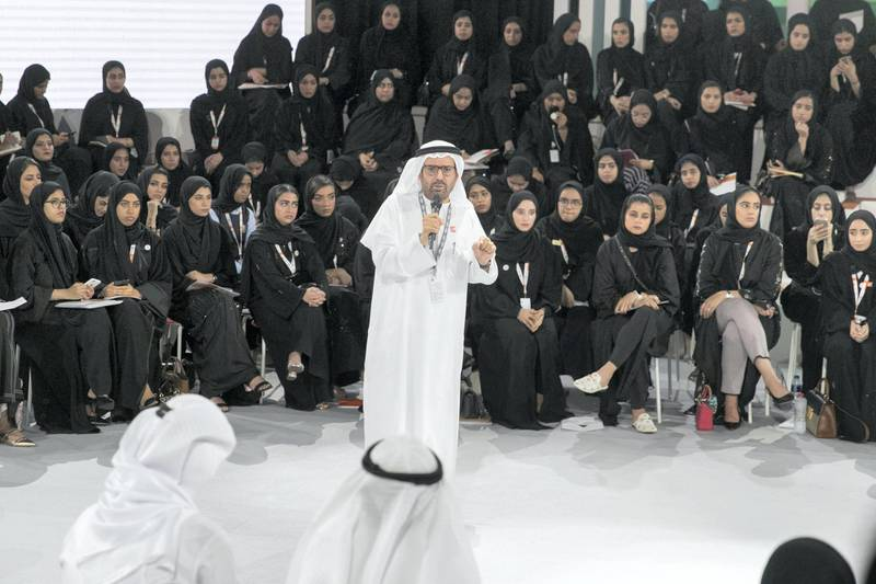 ABU DHABI, UNITED ARAB EMIRATES - OCTOBER 08, 2018. HE Dr. Ali Rashid Al Nuaimi speaks at the Majlis in Mohammed Bin Zayed Council for Future Generations sessions, held at ADNEC.(Photo by Reem Mohammed/The National)Reporter: SHIREENA AL NUWAIS + ANAM RIZVISection:  NA