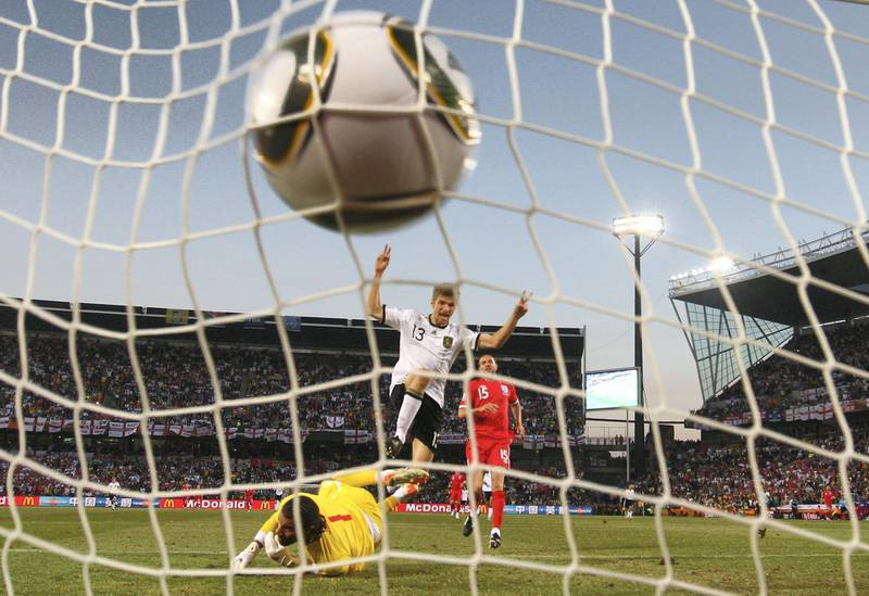 BLOEMFONTEIN, SOUTH AFRICA - JUNE 27:  Thomas Mueller of Germany celebrates scoring his teams fourth past goal David James of England during the 2010 FIFA World Cup South Africa Round of Sixteen match between Germany and England at Free State Stadium on June 27, 2010 in Bloemfontein, South Africa.  (Photo by Michael Steele/Getty Images)